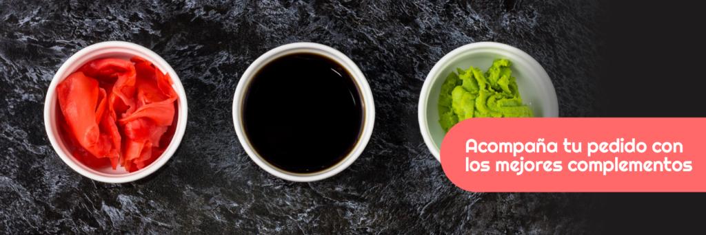 Acompaña tu pedido de Sushi en Barcelona con Wasabi, Jengibre y Salsa de Soja